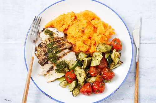 Chicken With Sweet Potato Mash And Pesto Roasted Vegetables Marley Spoon