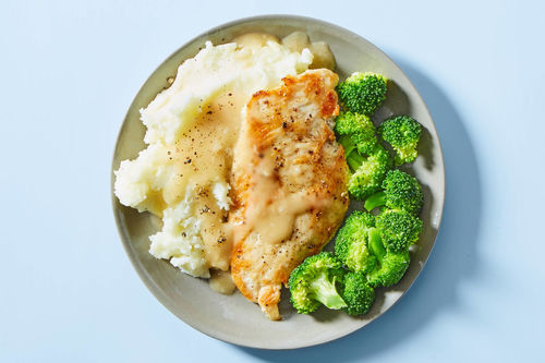 Chicken Broccoli With Mashed Potatoes Gravy Dinnerly