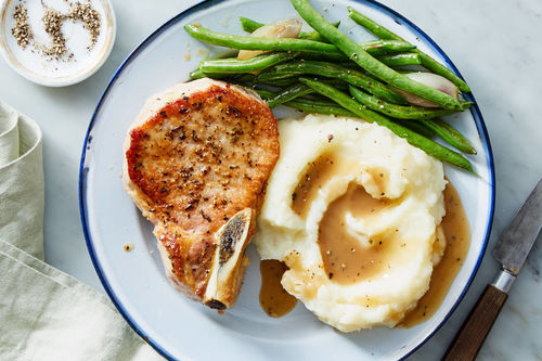 pork chop recipes mashed potato Pan-Seared Pork Chops & Mashed Potatoes with Rosemary Gravy & Roasted Green  Beans