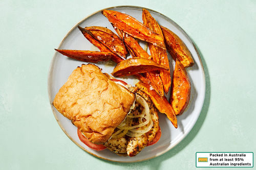 Italian Herb Chicken Burger With Sweet Potato Wedges Dinnerly