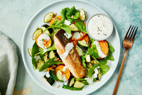 Salmon And Warm Spinach Salad With Sweet Potato And Yoghurt Marley Spoon