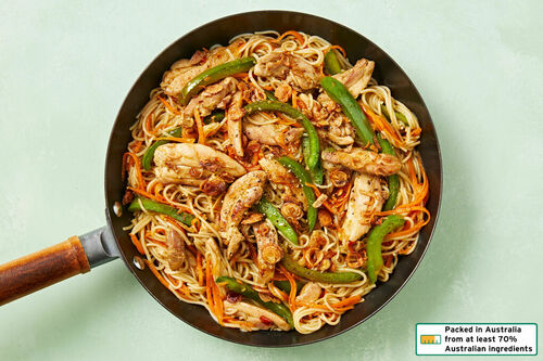 Low Cal Lemongrass Chicken Stir Fry With Vermicelli Noodles And Fried Shallots Dinnerly